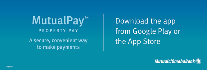 MutualPay Property Pay. A secure, convenient way to make payments. Download the app from Google Play or the App Store. Mutual of Omaha Bank